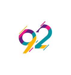 92 years anniversary celebration logo template vector