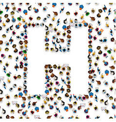 A group of people in of english alphabet letter h vector