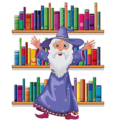 A wizard in the library vector image