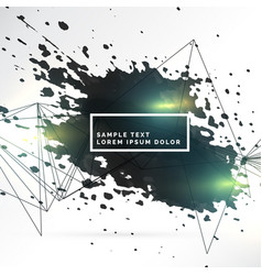 Abstract background of black ink splash and lines vector