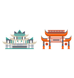 asian traditional buildings set ancient eastern vector image