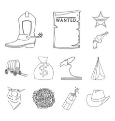 Attributes wild west outline icons in set vector
