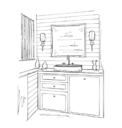 Bathroom interior elements sketch vector