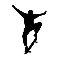 Black silhouette skateboarder vector