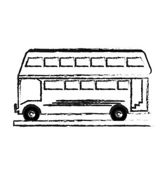 blurred silhouette two floor bus transport vector image