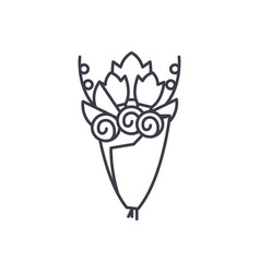 bridal bouquet line icon concept bridal bouquet vector image
