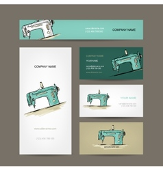 Business cards design sewing maschine sketch vector