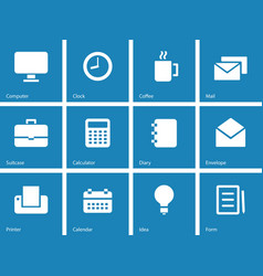 Business icons on blue background vector image