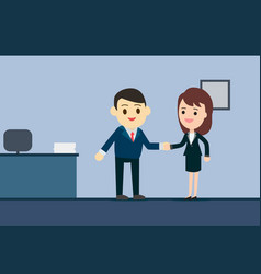 business man and business woman shaking hands in vector image