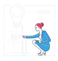 businesswoman searching for ideas - line design vector image