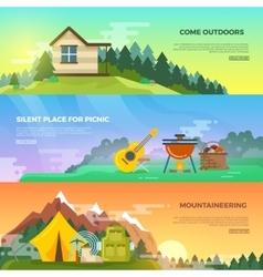 Camping flat banner set vector image vector image