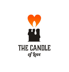 candle and love logo design inspiration vector image