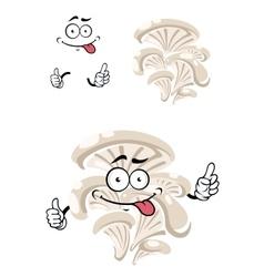 Cartoon funny oyster mushroom character vector