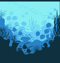 cartoon underwater blue ocean background scene vector image