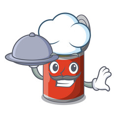 Chef with food canned food on the table cartoon vector