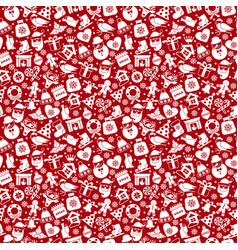 christmas seamless pattern of icons of flat style vector image