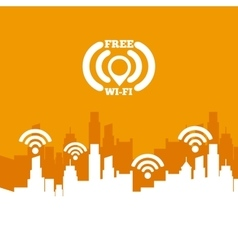 Cityscape with wifi service vector
