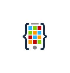 Code mobile logo icon design vector