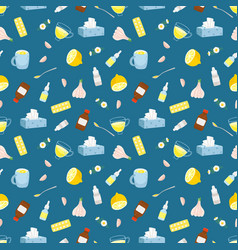 cold remedies seamless pattern vector image