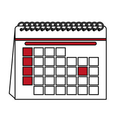 Color contour cartoon calendar with indicated day vector