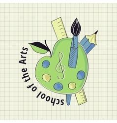Colored vintage school label vector image