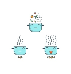 Cooking thin line icons set Cute Pot icon vector