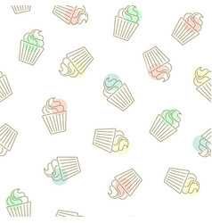 Cupcake seamless pattern hand drawn golden vector