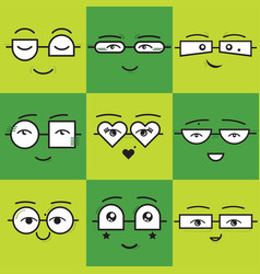 cute green square stickers emoticons smile faces vector image