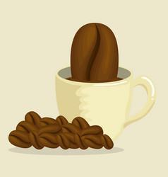 delicious coffee cup with grains vector image