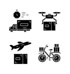 delivery glyph icons set shipping service drone vector image