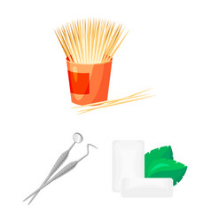 Dental care cartoon icons in set collection for vector