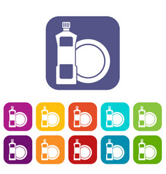 dishwashing liquid detergent and dish icons set vector image