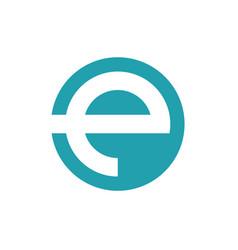 e logo solid circle vector image
