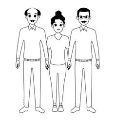 Family grandfathers with adultt afro granddaughter vector