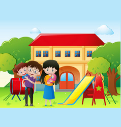 Family in a park with house vector