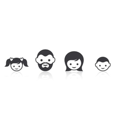 Family members face icons vector image