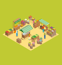 Farm local market concept 3d isometric view vector