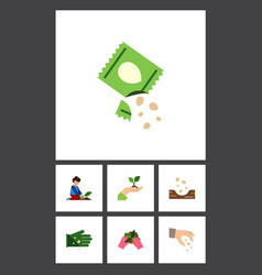 Flat icon plant set of packet plant sow and vector