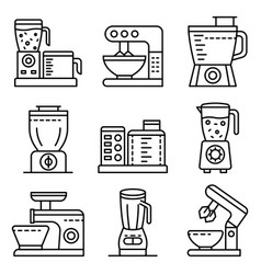 Food processor icons set outline style vector