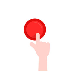forefinger pushing on red button vector image