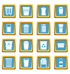 Garbage container icons azure vector