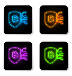 glowing neon shield with bitcoin icon isolated on vector image