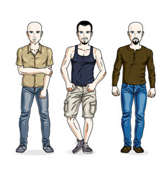 handsome young men group standing wearing casual vector image