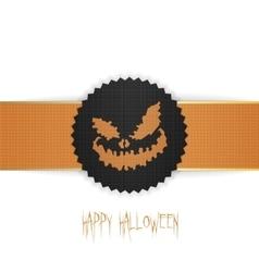 Happy halloween banner emblem on ribbon vector