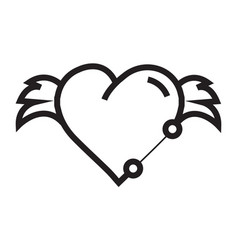 Hearts wings pen tool design vector