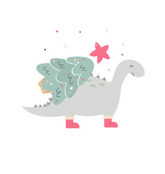 holiday hand drawn dino with christmas tree vector image