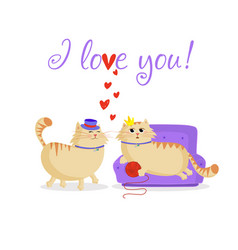 i love you greeting card with cute cartoon cats vector image