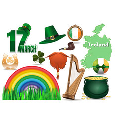 icons set for st patricks day vector image