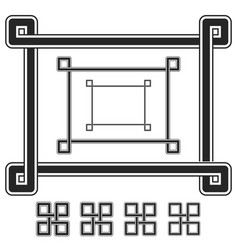 interwoven frames and symbols with different vector image