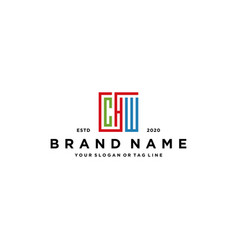 Letter chw square colorful logo design vector
